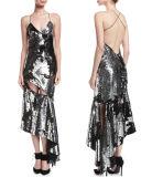 Сломанный Sequin безрукавный Смещени-Отрезал платье выскальзования коктеила
