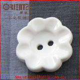 2-Hole Plastic Flower Shape Button in White Color (H-1156)