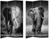 코끼리, Zebra Design 거실 Canvas 및 Wooden Printing Decorative Folding Screen 룸 Divider x 3 Panel