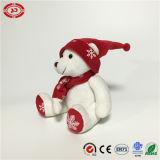 Assis blanc Ours en peluche de cadeaux de Noël Noël Ce jouet personnalisé