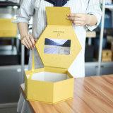 Berufskundenbezogenheits-goldenes Hexagon-video verpackenkasten 7 Zoll LCD-Bildschirmanzeige-Geschenk-Kasten für die Ring-Blume fördernd