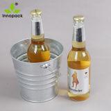 ビールのための金属のハンドルが付いている小型単一のカスタム金属のバケツの氷のクーラー