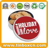 Redondo de metal personalizados galletas Cookies Tin Box para el almacenamiento de alimentos