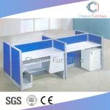 Dos asientos de madera para oficina Estación de trabajo con el Archivador (CAS-W31421)