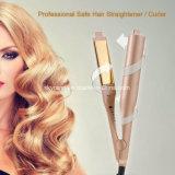 Rectificação de ferro plana de cabelo profissional 2 em 1 modelador alisador de cabelo