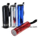 Grosse Handfackel-Superbright grelle Aluminiumtaschenlampen-kampierendes Lampen-rotes schwarzes blaues Silber der Förderung-9 LED mini bewegliche Pocket