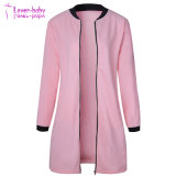 Comercio al por mayor moda mujer Color sólido stand-up Collar Mangas Largas Trench Coat