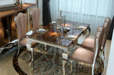 現代食堂の家具のステンレス鋼の大理石の上のダイニングテーブル