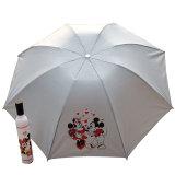 ترويجيّ هبة مادّة زجاجة مظلة 3 قسم يطوي مظلة يدويّة