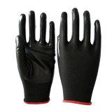 Оптовая торговля черным покрытием нитриловые перчатки безопасности EN388
