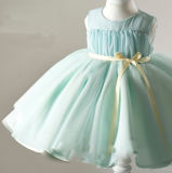 Vestidos verdes do vestido da menina de flor de Organza