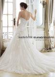 끈이 없는 신부 복장 끈이 없는 에이라인 레이스 구슬로 만드는 결혼 예복 2018 E13426