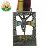 Kundenspezifische preiswerte Metallmarathon-Medaille/Laufring-Medaille/laufende Medaille mit Farbband