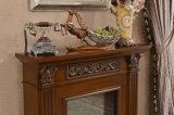 Cheminée en pierre de Brown avec la fleur découpant pour la décoration d'intérieur