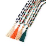 女性の女の子のためのボヘミアのふさのビードが付いている長いビーズのネックレス