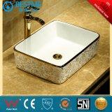 Patern de oro en el lavabo de cerámica para baño productos BC-7084
