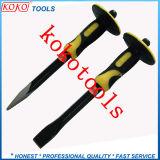 Gli scalpelli di pietra piani e taglienti della maniglia di gomma di plastica di doppio colore della parte superiore 2PCS hanno impostato