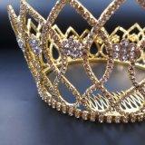 2018 mais recente casamento da coroa de cristal personalizado Stonne Vidro Golden Rhinestone Tiaras Suite Crown (BC03)