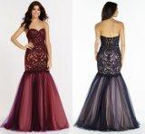 Vestido de noite Strapless Lace Tulle Mermaid Prom Dress E13212