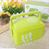 Casella di pranzo di plastica di Bento del contenitore di alimento con la forchetta ed il cucchiaio 20011