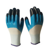 Синий половина нитриловые перчатки покрытия палец двойной бумага с покрытием