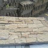 Gründete gelbe Wand gestapelter Stein, Tiger-Haut-Gelb-Kleber Wand-Steinfurnier-blatt