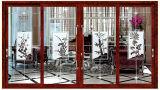Beau design en verre de couleur en bois de santal rouge porte coulissante en aluminium