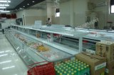 Congelador profundo europeu do indicador do console do supermercado