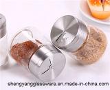 Frasco da especiaria do recipiente de armazenamento do vidro de frasco do condimento com tampa do metal