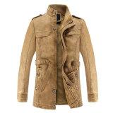 Men´ S 호리호리한 재킷 남자 긴 PU 가죽 기관자전차 재킷 우연한 재킷