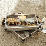 Rope Handles를 가진 국가 Rustic Vintage Wooden Serving Trays