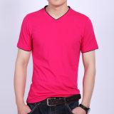 Modèle noir de T-shirt de mode de T-shirt d'hommes de vente en gros de constructeur de la Chine