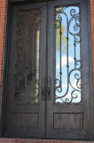 Porte d'entrée de luxe élégante faite sur commande de fer de moulage avec la glace Tempered