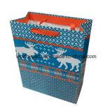 Azul brillante impresión de CMYK arte bolsa de papel con la manija de la cinta