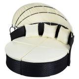 Mobilia rotonda esterna nera del sofà del rattan del patio