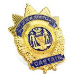 Divisa plateada plata irregular de encargo de la policía (GZHY-BADGE-015)