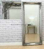 Orné d'argent antique Tall long miroir de toilette Chic