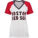 Camiseta roja blanca de la base del acoplamiento de Bling de las mujeres