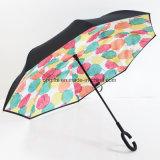 De hete Omgekeerde Paraplu van de Vorm van de Laag C van de Verkoop Dubbele Handvat