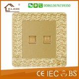 Prise murale de la mosaïque 1gang Switch+2pin d'or de la Birmanie Champagne