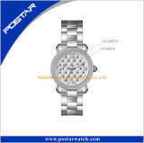 Montre-bracelet imperméable à l'eau de diamant de qualité d'armée de cadran de configuration de réseau