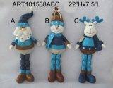 Décoration de Noël Santa, Snowman et Moose debout, cadeau Craft-3asst