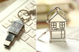 House Shape Pen Drive USB drive USB de metal com porta-chaves