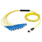 MTP/MPOのファイバーのトランクか端末増設機構またはブレイクアウトのケーブルまたはパッチ・コードかパッチケーブル
