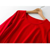 Dropship Habillement Cotton Plain Color T-shirt rouge pour dames