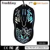 Custom Soft Touch Rubber Coating Backlit Wired Gamer Mouse para PC