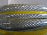 Tuyau renforcé en PVC transparent avec large ligne jaune