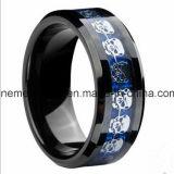 Mannelijke Ring van het Skelet van het Tussenvoegsel van de Vezel van de Koolstof van het Carbide van het Wolfram van het wolfram de Blauwe Zilveren
