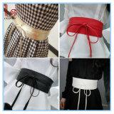 Envoltório de couro sintético do laço em torno da correia larga do vestido da cintura do Bowknot