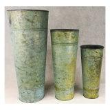 Vaso de vaso de interior e exterior galvanizado em estanho redondo